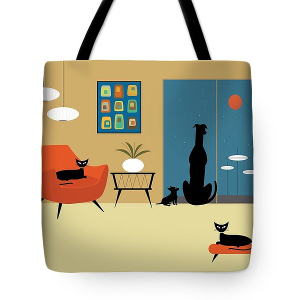 Tote Bag featuring the digital art Mid Century Dogs And Cats by Donna Mibus