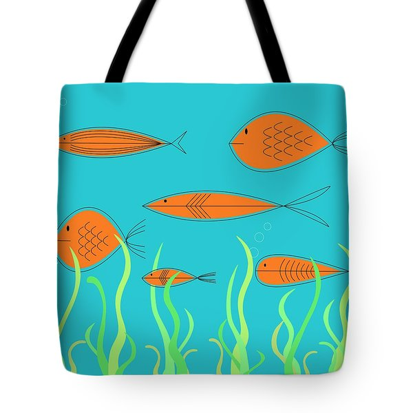 Tote Bag featuring the digital art Mid Century Fish 2 by Donna Mibus