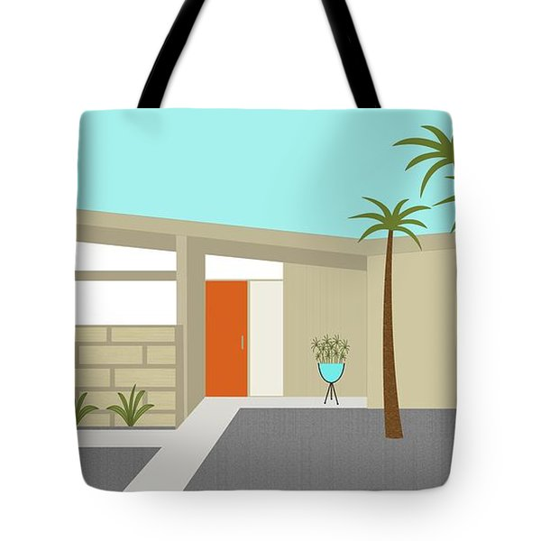 Tote Bag featuring the digital art Mid Century Modern House 1 by Donna Mibus
