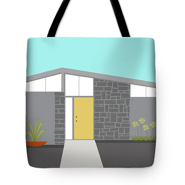 Tote Bag featuring the digital art Mid Century Modern House 2 by Donna Mibus