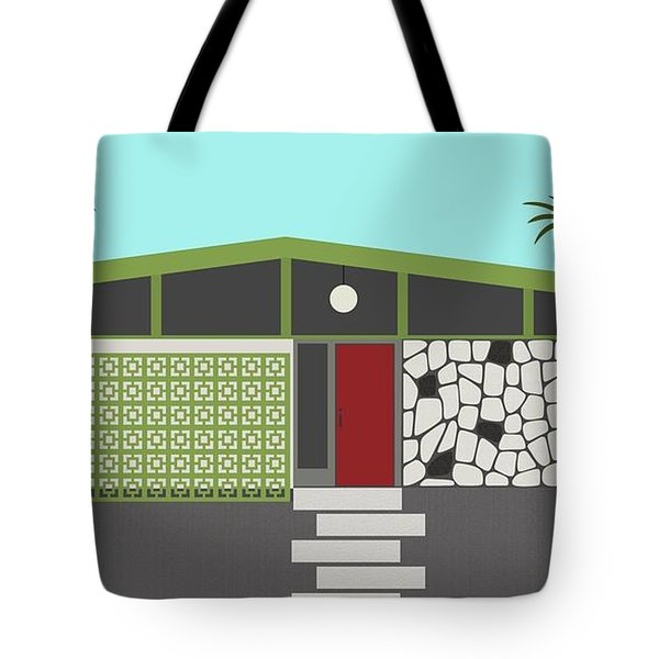Tote Bag featuring the digital art Mid Century Modern House 4 by Donna Mibus