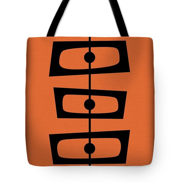 Tote Bag featuring the digital art Mid Century Shapes On Orange by Donna Mibus