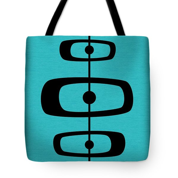 Tote Bag featuring the digital art Mid Century Shapes 2 On Turquoise by Donna Mibus