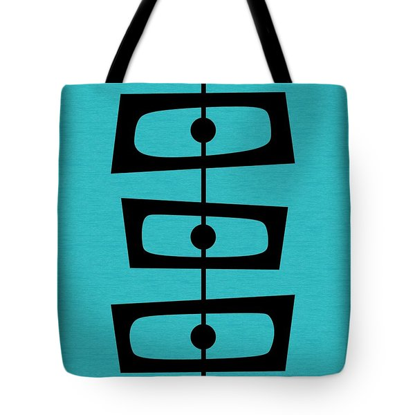 Tote Bag featuring the digital art Mid Century Shapes On Turquoise by Donna Mibus