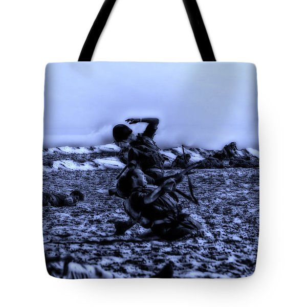 Midnight Battle Men Down Tote Bag by Thomas Woolworth