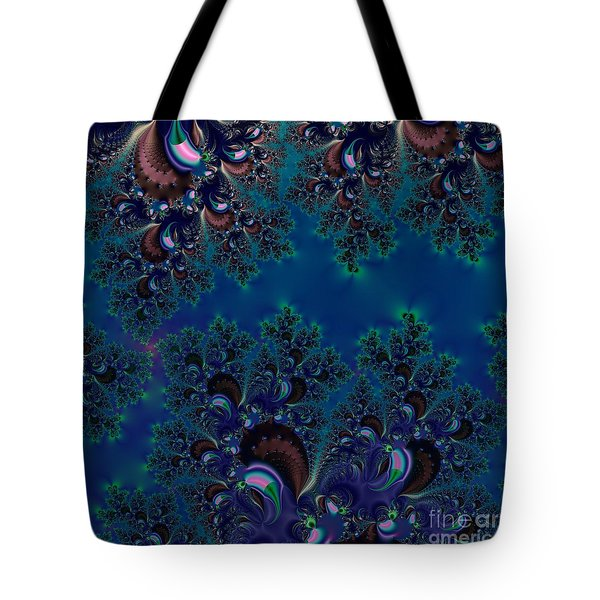 Midnight Blue Frost Crystals Fractal Tote Bag