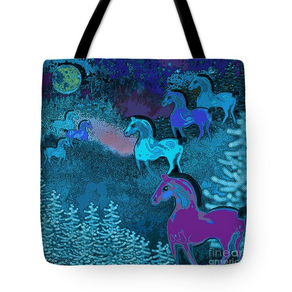 Midnight Horses Tote Bag