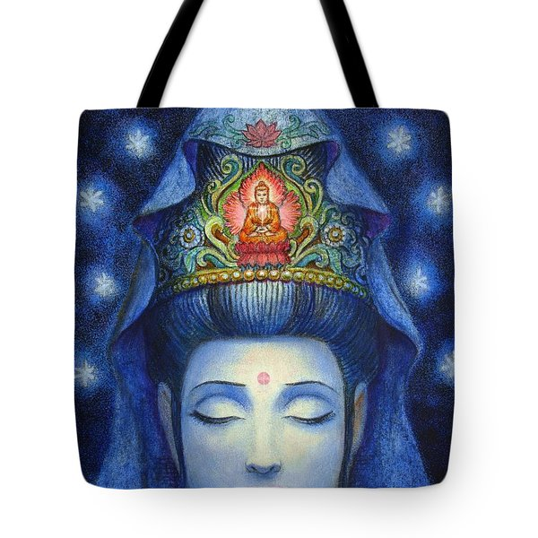 Tote Bag featuring the painting Midnight Meditation Kuan Yin by Sue Halstenberg