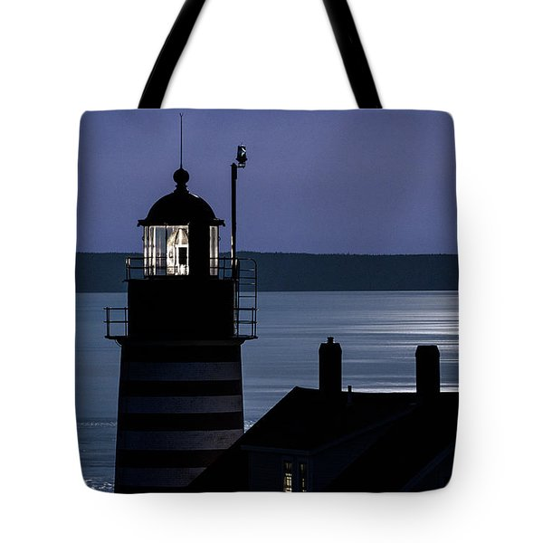 Tote Bag featuring the photograph Midnight Moonlight On West Quoddy Head Lighthouse by Marty Saccone