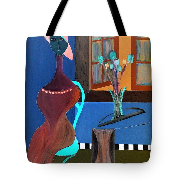 Tote Bag featuring the painting Midnight On The Terrace by Bill OConnor