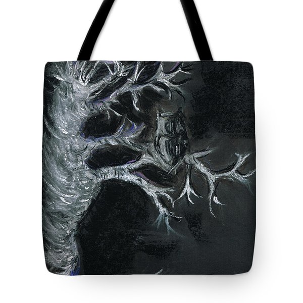 Tote Bag featuring the drawing Midnight Owl by Teresa White