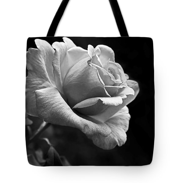 Midnight Rose In Black And White Tote Bag
