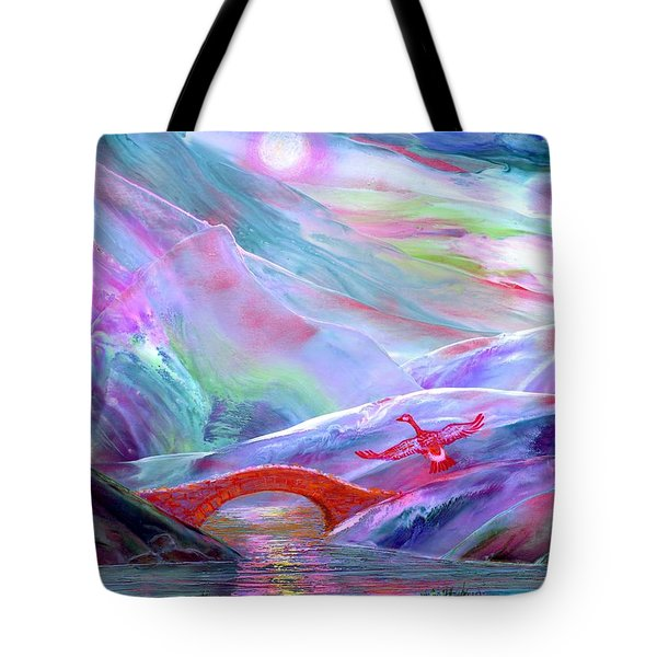 Tote Bag featuring the painting   Midnight Silence, Flying Goose by Jane Small