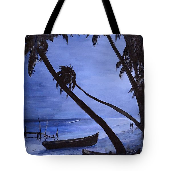 Tote Bag featuring the painting Midnight Stroll In Paradise by Alan Lakin