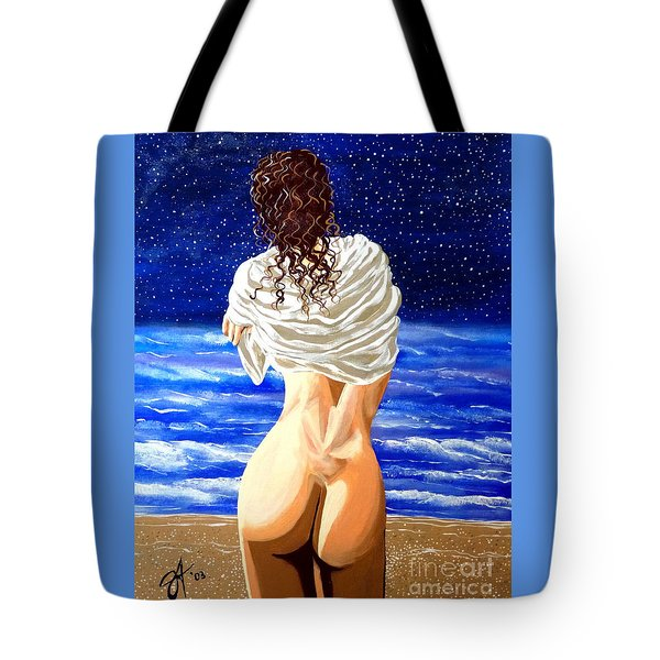 Tote Bag featuring the painting Midnight Swim by Jackie Carpenter
