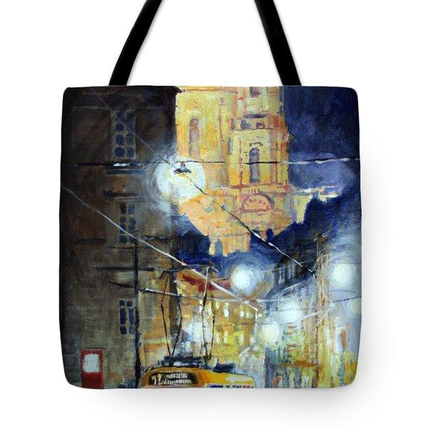 Midnight Tram  Prague  Karmelitska Str Tote Bag