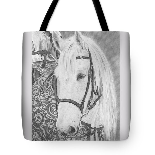 Tote Bag featuring the drawing Midsummer Knight Majesty by Gigi Dequanne