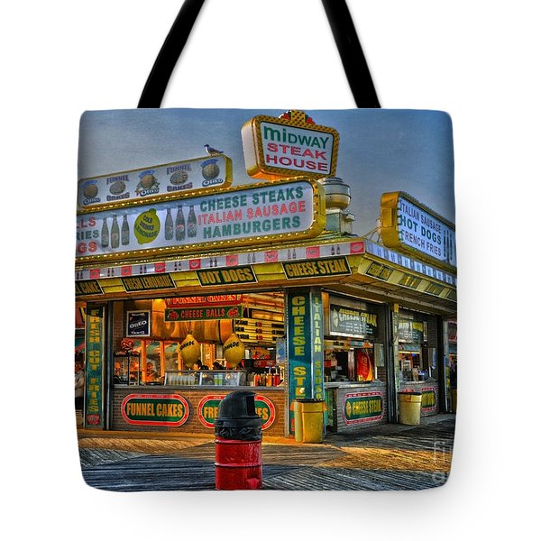 Tote Bag featuring the photograph Midway Steak House by Debra Fedchin