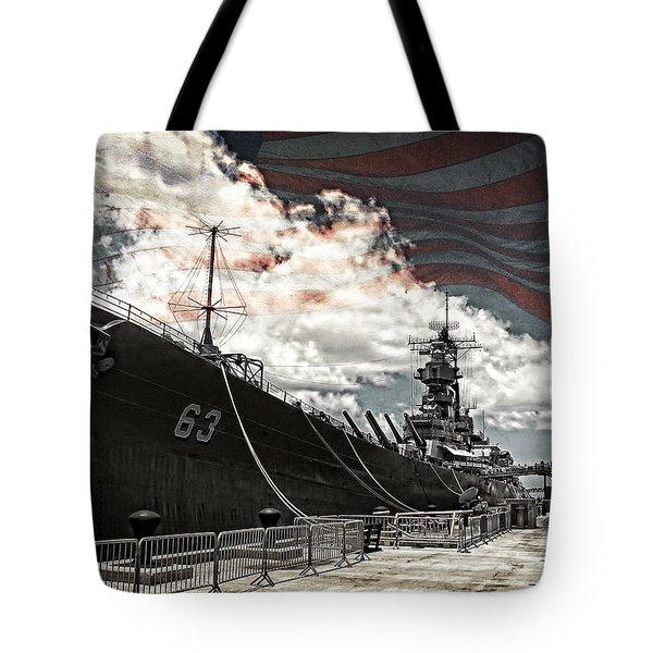 Mighty Mo U.s.s. Missouri Tote Bag by Ken Smith