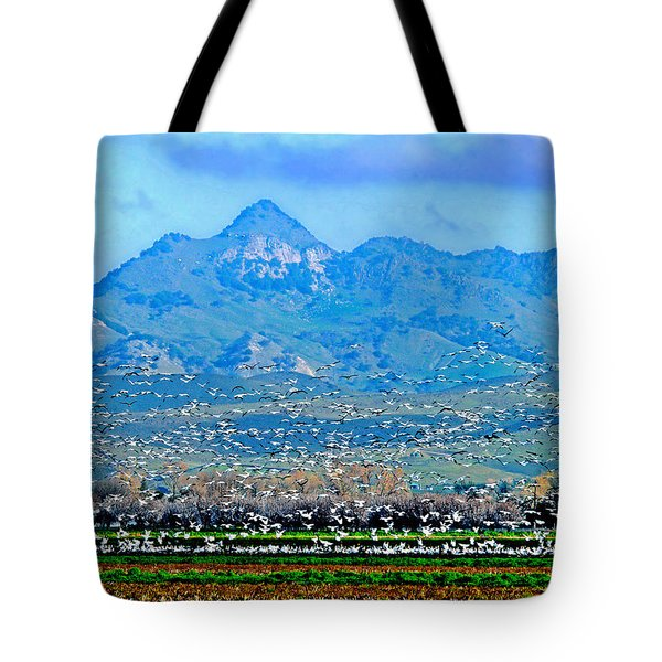 Migrating Birds Over Sutter Wilflife Refuge Tote Bag