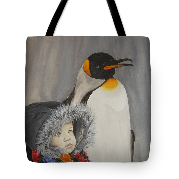 Mika And Penguin Tote Bag