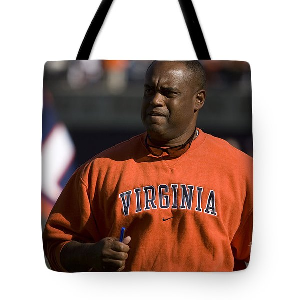 Mike London Virginia Cavaliers Football Tote Bag by Jason O Watson