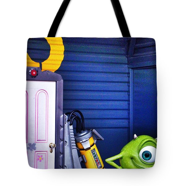 Mike With Boo's Door - Monsters Inc. In Disneyland Paris Tote Bag by Marianna Mills