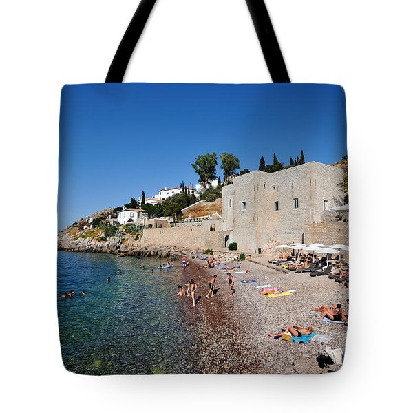 Mikro Kamini Beach Tote Bag by George Atsametakis