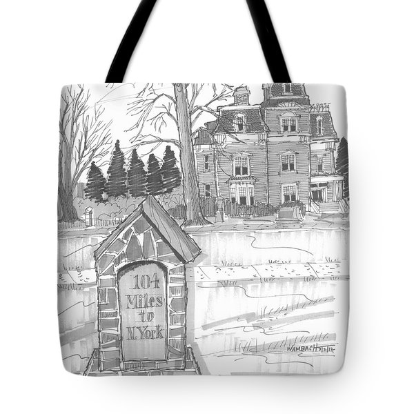 Tote Bag featuring the drawing Mile Marker And Victorian by Richard Wambach