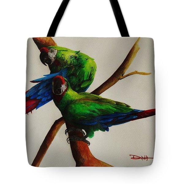 Military Macaws Tote Bag by Dana Newman