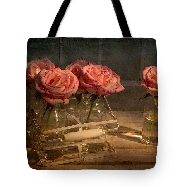 Milk Bottle Roses Tote Bag by Ann Garrett