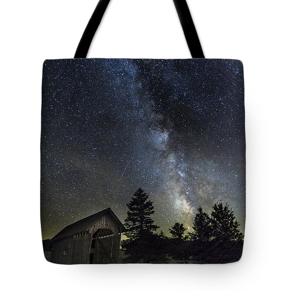 Milky Way Over Foster Covered Bridge Tote Bag