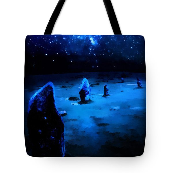 Tote Bag featuring the painting Milkyway Over The Hurlers Stone Circle by Menega Sabidussi