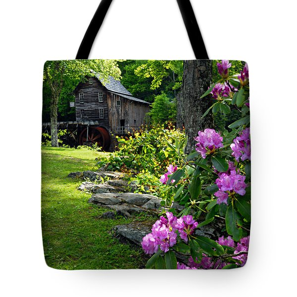 Mill And Rhododendrons Tote Bag