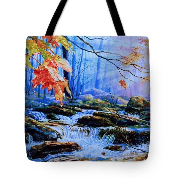 Mill Creek Autumn Sunrise Tote Bag