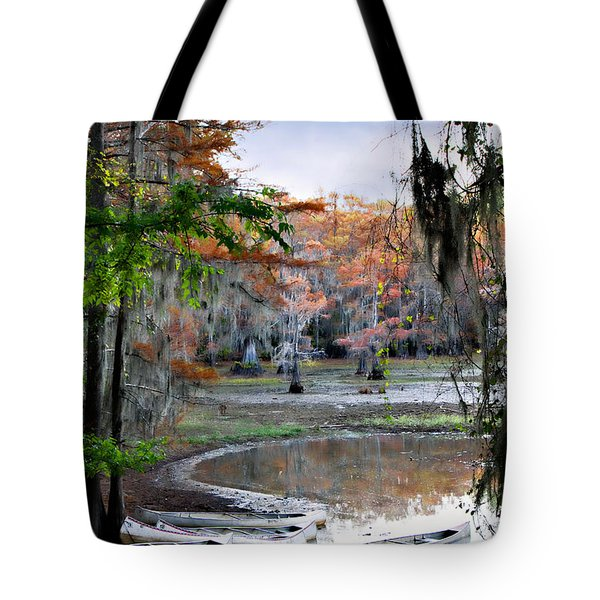 Tote Bag featuring the photograph Mill Pond Canoes by Lana Trussell