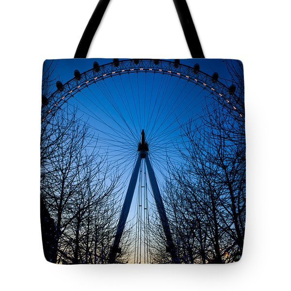 Tote Bag featuring the photograph Millennium Eye London At Twilight by Peta Thames