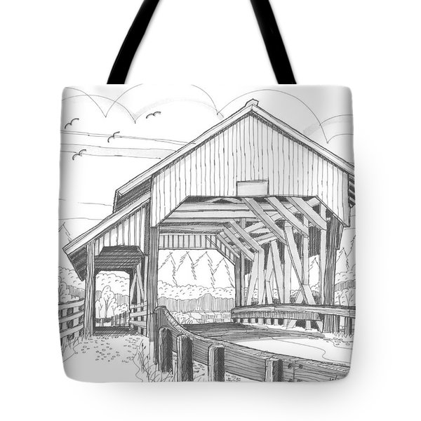Tote Bag featuring the drawing Miller's Run Covered Bridge by Richard Wambach