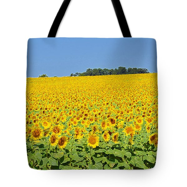 Millions Of Sunflowers Tote Bag by Eva Kaufman