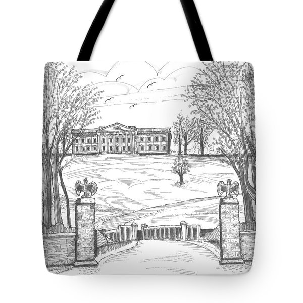 Tote Bag featuring the drawing Mills Mansion Staatsburg by Richard Wambach