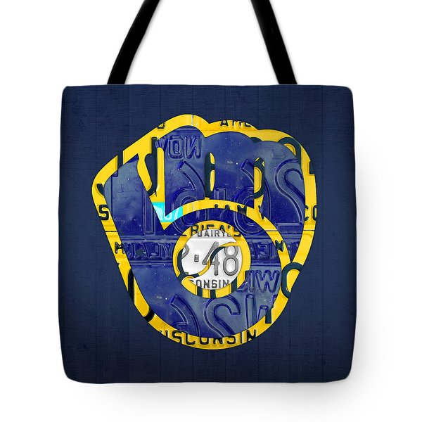 Milwaukee Brewers Vintage Baseball Team Logo Recycled Wisconsin License Plate Art Tote Bag by Design Turnpike