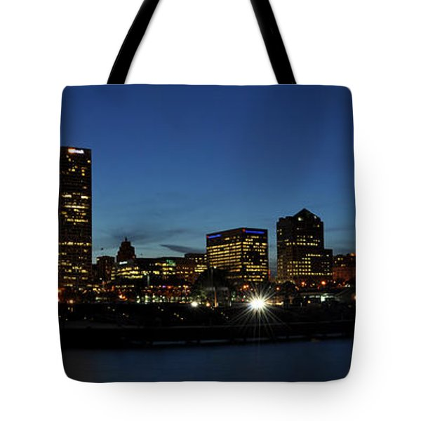 Tote Bag featuring the photograph Milwaukee City Scape Panorama by Deborah Klubertanz