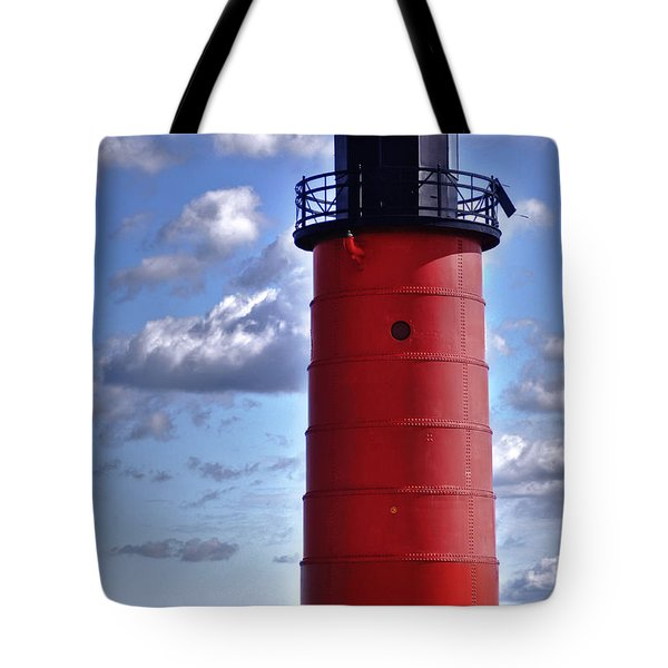 Tote Bag featuring the photograph Milwaukee Pierhead Light by Deborah Klubertanz