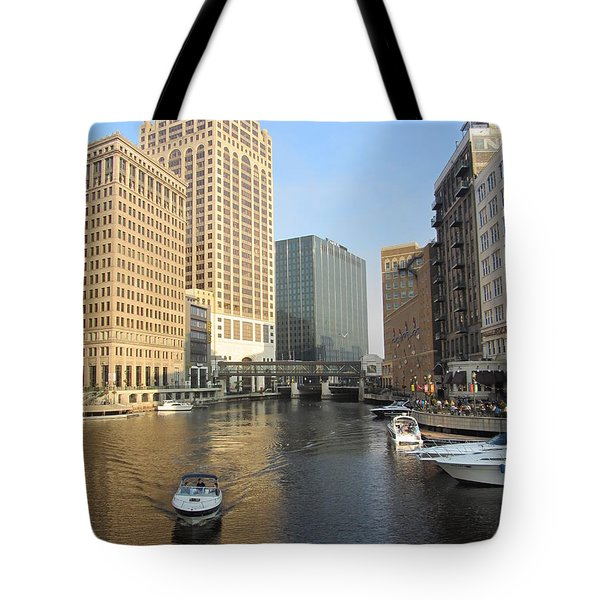 Milwaukee River Theater District 3 Tote Bag