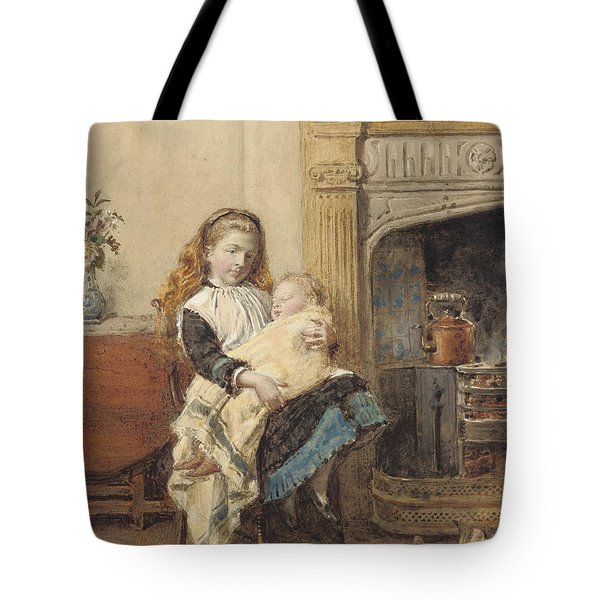 Minding Baby Tote Bag by George Goodwin Kilburne