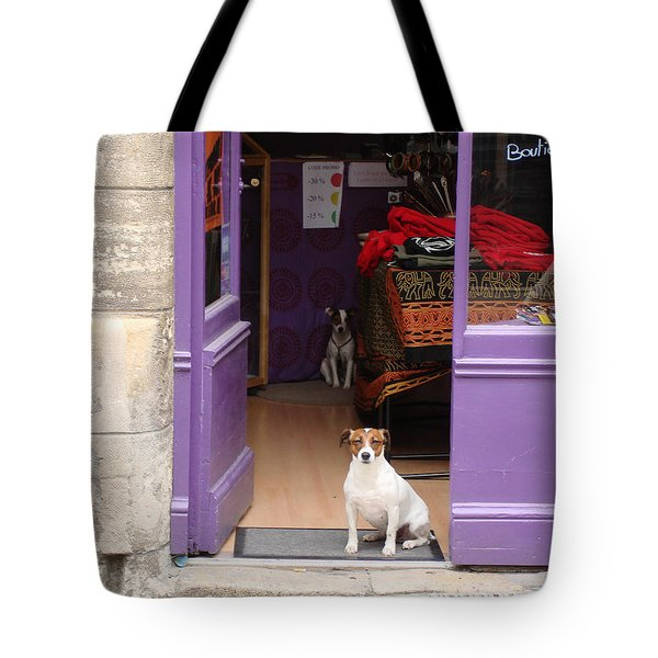 Tote Bag featuring the photograph Minding The Shop. Two French Dogs In Boutique by Menega Sabidussi