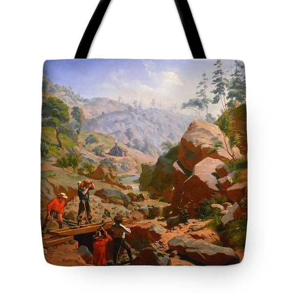 Miners In The Sierras Tote Bag by Charles Nahl
