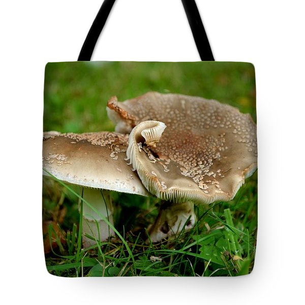 Tote Bag featuring the photograph Mingling Mushrooms by Scott Lyons