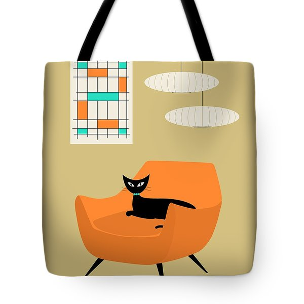 Tote Bag featuring the digital art Mini Abstract With Orange Chair by Donna Mibus