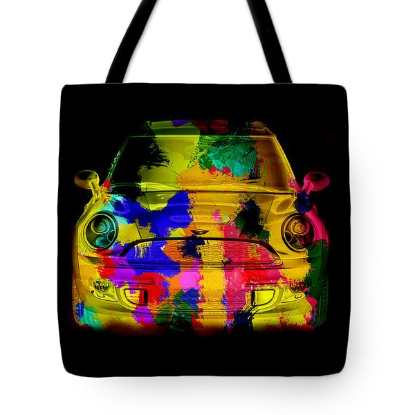 Mini Cooper Colorful Abstract On Black Tote Bag by Eti Reid